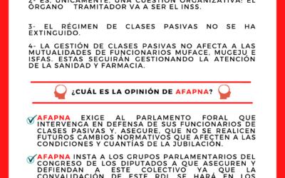 AFAPNA ACLARA LA INFORMACIÓN DE LAS CLASES PASIVAS