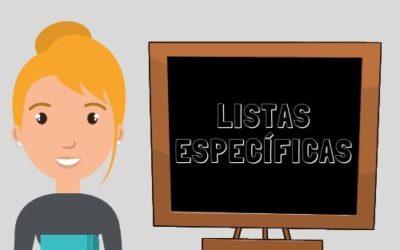Listas específicas PROVISIONALES abiertas en MARZO